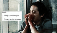 "A ""text-post meme"" where a user has posted a media image of a character from The Walking Dead superimposed with another user's written text"