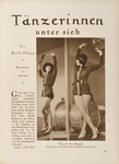 A page from a German magazine of dancer Vera Skoronel, looking at herself in a mirror as she checks her pose: arms above her head and holding instrumental objects, legs crossed as she stands next to a bass drum and wears a short dress with a belt. She also is wearing a bowler hat with a ribbon atop short hair and heeled shoes. She leans slightly toward the mirror. Around the photograph is a block of German editorial text.