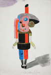 Watercolor sketch of a warm stove costume rendered in bright primary colors and black, color blocked to suggest the rigid geometries of technology. The figure holds its arms starkly at its sides and pointing slightly outward, feet slightly separated, neutral facial expression. Nothing else fills the page around the sketch other than the sketched figure's grey shadow, a faint signature at the bottom of the page, and a light purple blob of color at the top left corner.