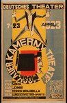 Production poster for a week of performances in Germany during the Kamerny's 1923 tour. The poster's center is dominated by the famous Kamerny logo: a red and black constructivist rendition of Phaedra's face in profile, encircled by the theater's name.