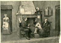 Photograph of Perrybingle and Tackleton sitting before a cozy hearth, center, as Maliutka enters in apron and cap, left.
