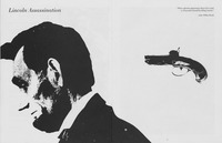 Fig. 7. Image of Lincoln and derringer pistol from the Yale Repertory Theatre program for The America Play, Billy Rose Theatre Division, New York Public Library for the Performing Arts, Astor, Lenox, and Tilden Foundations. (Courtesy of the Yale Repertory Theatre and the Meserve Kunhardt Foundation.)