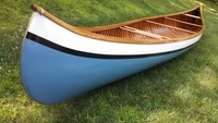 A Gerrish canoe, ca. 1900, serial number 1772, restored by Zachary Smith. Note the reed wrapping at the end of the gunwales, which was a Gerrish feature.
