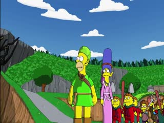 A video trailer for The Simpsons Game from 2007, parodying EverQuest video game trailers, depicting various Simpsons characters in a fantasy world fighting dragons and magical creatures.