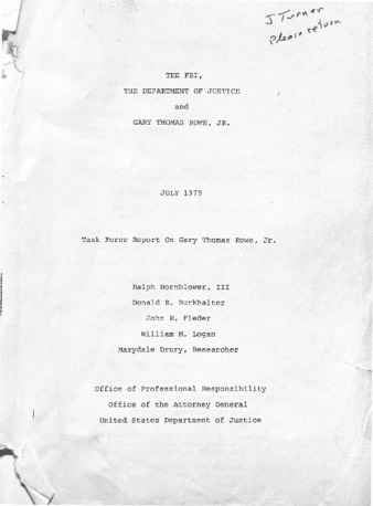 July 1979 Task Force Report on Gary Thomas Rowe, Jr.