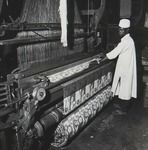 Blanket being woven at Kano textile mill.