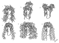 "Six ""headshot"" brown-line drawings of a single character, mixed race and non-binary, with six different hairstyles."