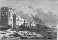 Fig. 2: Illustration of The World Without Us: A print of Lieutenant William Henn's sketch of the devastation caused by the Zanzibar cyclone as published in Illustrated London News, June 1, 1872, By Melville J. Herskovits Library of African Studies, Northwestern University.