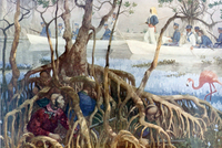 A color illustration of a military unit using canoes in the Seminole War.