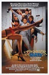"A film poster for the film Bachelor Party, showing a group of seven men coming through a door overflowing with streamers, carrying beer and champagne, who see a woman's leg in fishnet tights, a red garter, and black heels with the tag line ""Shocking. Shameless. Sinful. Wicked. And the party hasn't even started."" Underneath the title of the film is the additional tag line, ""A man's tradition every woman should know about."""
