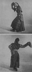 Figure 6.2. Dai Ailian performs Tibetan dance in long dress with striped apron. She stamps her feet in boots with thick, flat soles and flings long sleeves over one shoulder.