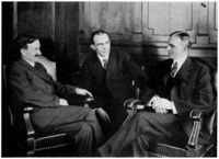 Harvey Firestone, C. Harold Wills, and Henry Ford in consultation.