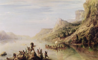 An oil painting of Cartier and crew on canoes in the water; larger ships are in the background.