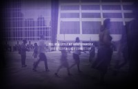 "A screen grab from the Six Degrees website with the words ""Tell us a little bit about yourself and discover a new connection"" written in white letters on top of a blurry, purple image of various people hurrying along a city street."