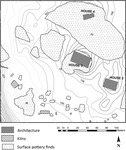 Fig 5: Map of the southern part of Bīr Shawīsh, where they found architecture, kilns and surface pottery in and around 3 mud brick buildings or individual farmsteads identified as houses 2, 3 and 4 at the site.