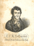 Portrait of Hoffmann, head and shoulders, full front, eyes gazing to one side.