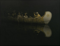 An oil painting of a group of voyageurs traveling at night in a birch-bark canoe.