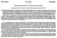 Citation: Encouragement to Manufacturers, American State Papers 196, 7th Congress, 2nd Sess., February 21, 1803.