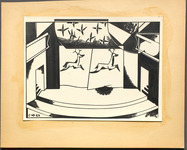 Drawing of the forestage, side entrances, and closed curtain decorated with running deer for Derzhavin's production of The Strange Adventure of E. T. A. Hoffmann.