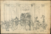 Pencil drawing of a columned ballroom crowded with wedding guests dancing on broad stairs and the floor below. Upstage a balustrade encloses a tiny platform upon which the wedding musicians are uncomfortably crammed.