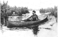 Frederic Remington illustration of a Rushton American Traveling Canoe.