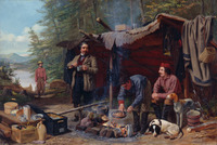A painting of several figures cooking a meal next to a lean-to camp.