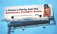 "People for the Ethical Treatment of Animals advertisement featuring a pornographic image of a white woman in a string bikini. She is pulling her bikini bottoms off with one hand and holding a large link of sausages thrown over her shoulder with her other hand. Her hip is canted. Main text reads, ""I threw a party, but the cattlemen couldn't come."" Minor text reads, ""Eating meat can cause impotence. Go vegan!"""
