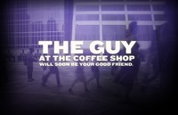 "A screen grab from the Six Degrees website with the words ""The guy at the coffee shop will soon be your good friend"" written in white letters on top of a blurry, purple image of various people hurrying along a city street."