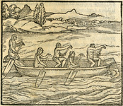 "This woodcut illustration of a Taino dugout canoe first appeared in Girolamo Benzoni's La Historia del Mondo Nuovo in 1562. It is titled Modo di nauigare nel Mare di Tramontana, or ""navigating into the north wind."" Since the canoe and paddle shapes are not accurate, this illustration probably came from Columbus's written description rather than from personal contact."