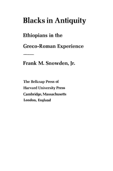 Cover image for Blacks in antiquity: Ethiopians in the Greco-Roman experience