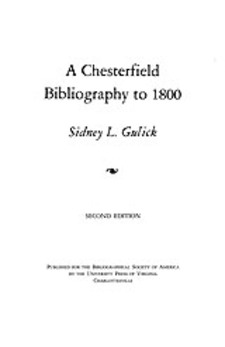 Cover image for A Chesterfield bibliography to 1800