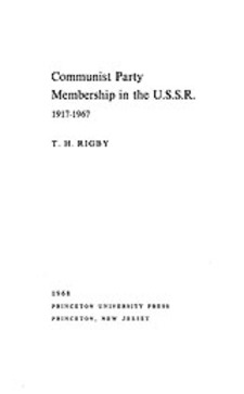Cover image for Communist Party membership in the U.S.S.R., 1917-1967