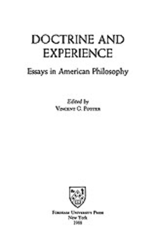 Cover image for Doctrine and experience: essays in American philosophy
