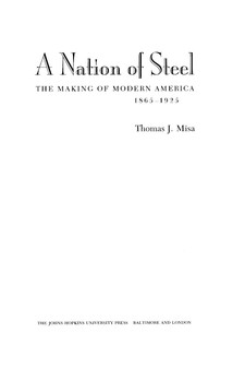 Cover for A nation of steel: the making of modern America, 1865-1925