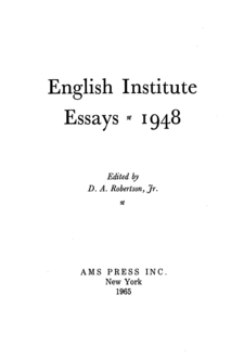 Cover image for English Institute essays, 1948