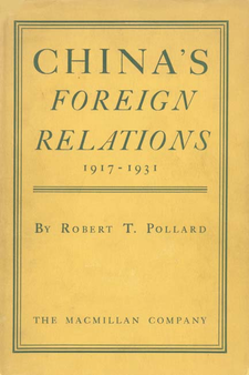Cover image for China's foreign relations, 1917-1931