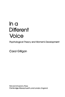 Cover image for In a different voice: psychological theory and women's development