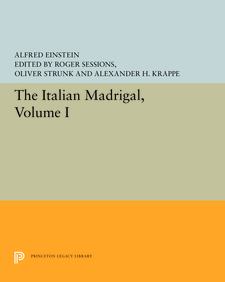 Cover image for The Italian Madrigal, Volume I