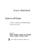 Cover image for Leaves of grass: a textual variorum of the printed poems, Vol. 2