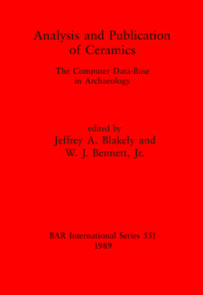 Cover image for Analysis and Publication of Ceramics: The Computer Data-Base in Archaeology