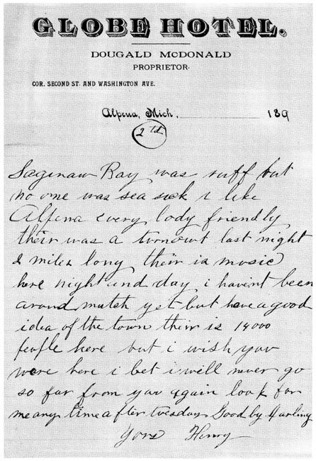 Letter of Henry Ford to Clara, March, 1891