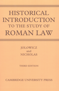 Cover image for Historical introduction to the study of Roman law