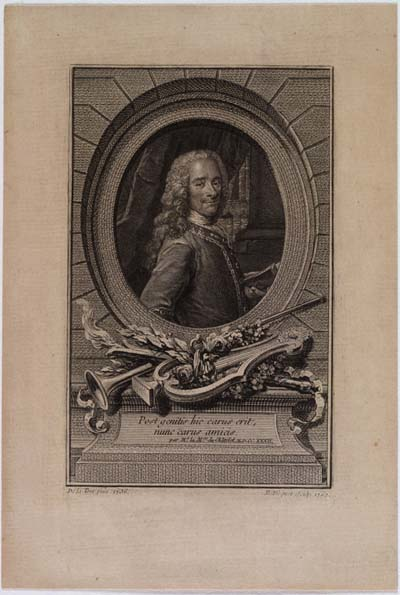 "Voltaire. This image is a 1762 engraving by Étienne Ficquet based on Maurice Quentin de la Tour's portrait of 1736, ""Voltaire à 41 ans;"" it appears courtesy of the Library of Congress, Division of Special Collections, Rosenwald Collection [#1649]."