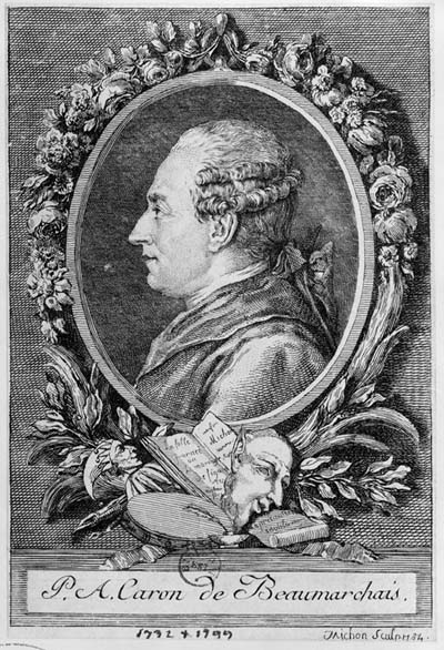 Pierre-Augustin Caron de Beaumarchais. This image of Beaumarchais in the style of an academic portrait was engraved by Michon in 1784, as a potential frontispiece for the anticipated, luxury first edition of Beaumarchais's Mariage de Figaro. It is based on an engraving cut in 1773 by Augustin de St. Aubin, from a portrait drawn by Nicholas Cochin, as a frontispiece for his Mémoires contre Goezmann. This image is reproduced from the BN Éstampes, N2, vol 125.