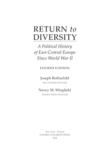 Cover image for Return to diversity: a political history of East Central Europe since World War II