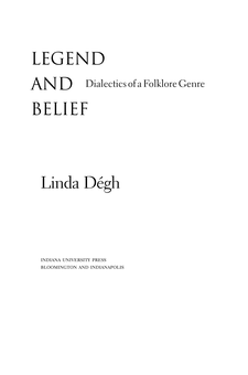 Cover image for Legend and Belief: Dialectics of a Folklore Genre