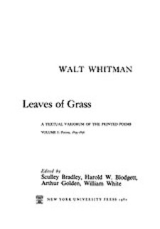 Cover for Leaves of grass: a textual variorum of the printed poems, Vol. 1