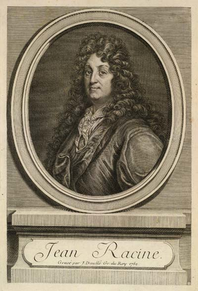 Jean Racine. This is an eighteenth-century engraving by Jean Daullé, based on Racine's official court portrait. It appeared as the frontispiece to Oeuvres de Racine (Paris: 1760) [courtesy of the Library of Congress, Division of Special Collections. PQ 1885 1760 (Pre-1801)].
