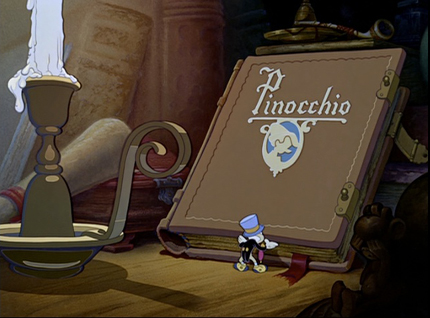 Jiminy Cricket opens the film-as-book, Pinocchio, dir. Norman Ferguson (Burbank CA: Walt Disney Productions, 1940).