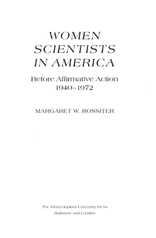 Cover image for Women scientists in America: before affirmative action, 1940-1972